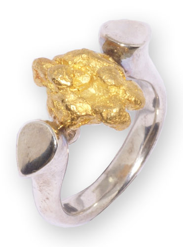 Ring Silber mit Gold Nugget